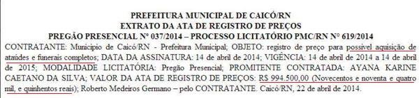 Extrato foi publicado no Diário Oficial do RN do dia 23 de Abril.
