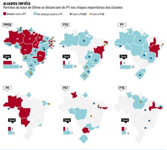 Observe o mapa do PT em todo o Brasil.