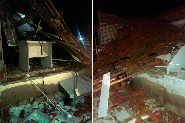 Prédio onde funcionava a agência do Bradesco foi completamente destruído pelas explosões (Foto: Valber Moura/G1)
