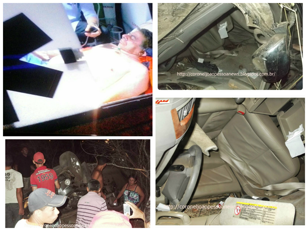 O veículo ficou totalmente destruído, mas o deputado teve apenas ferimentos leves.