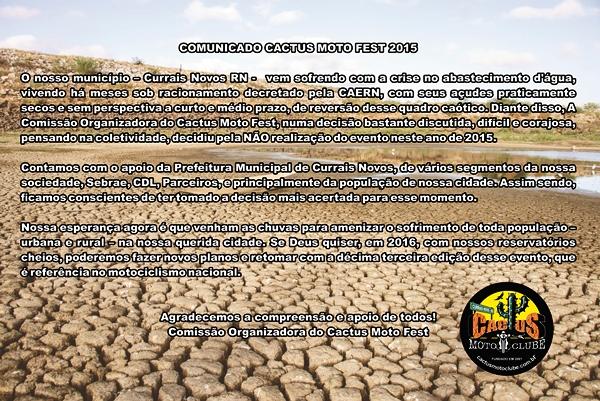 Equipe do Cactus Moto Clube emite noto sobre cancelamento do Cactus Moto Fest 2015
