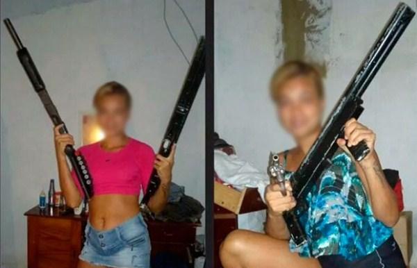 Em uma das fotos a jovem aparece ostentando duas escopetas semelhantes às que foram apreendidas em São José de Mipibu.