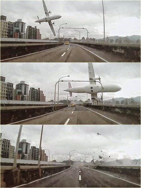 Imagens feitas por testemunha do acidente mostra o avião realizando uma manobra muito brusca sobre uma ponte e batendo na ponta do viaduto antes de cair no rio em Taiwan.