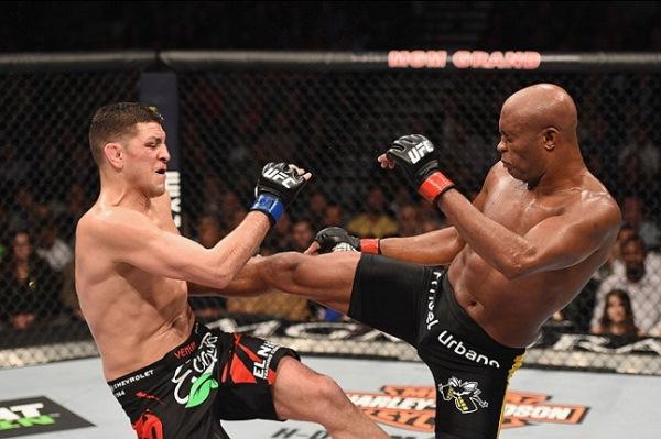 Anderson Silva na última luta contra Nick Diaz.