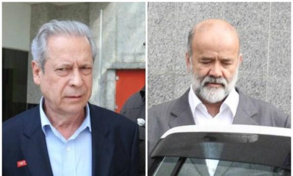 José Dirceu e João Vaccari Neto, acusados de serem os responsáveis por receber propina em esquema de corrupção na Petrobras.