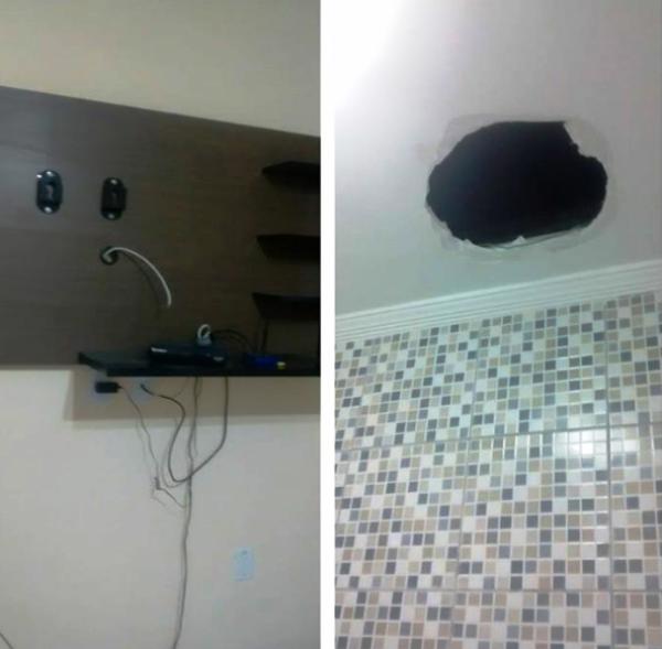 Casa arrombada no Bairro Radir Pereira. Nessa, os ladrões fizeram um buraco no teto.