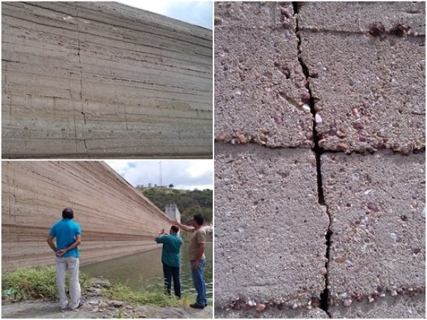 Rachaduras e vazamentos na parede da barragem Passagem das Traíras em Jardim do Seridó