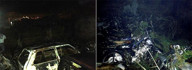 Segundo o Corpo de Bombeiros, 83 motocicletas e seis carros foram destruídos pelas chamas (Foto: Divulgação/Corpo de Bombeiros do RN).