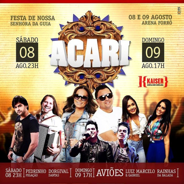ACARI: Venda de ingressos para os shows da Arena Forró a partir de quinta; lote promocional casadinha sábado e domingo