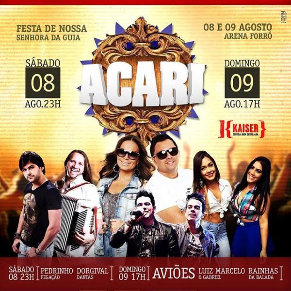 """ACARI: Venda de ingressos """"casadinha promocional sábado e domingo"""" para os shows do Arena Forró tem início nesta quinta-feira"""