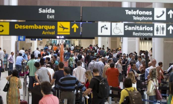 Aeroporto Santos Dumont em dia de cancelamentos e atrasos de voos – Márcia Foletto / Agência O Globo.