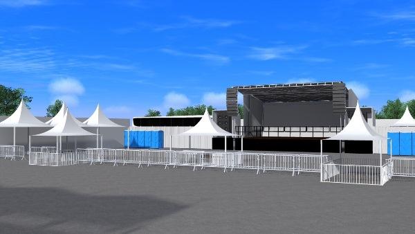 O evento contará com palco de 14 metros de largura.