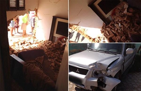 Carro desgovernado derruba parede e invade quarto de residência no RN