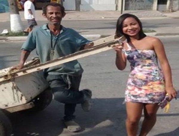Filha de carroceiro emociona a web: 'Te amo e jamais terei vergonha do senhor'