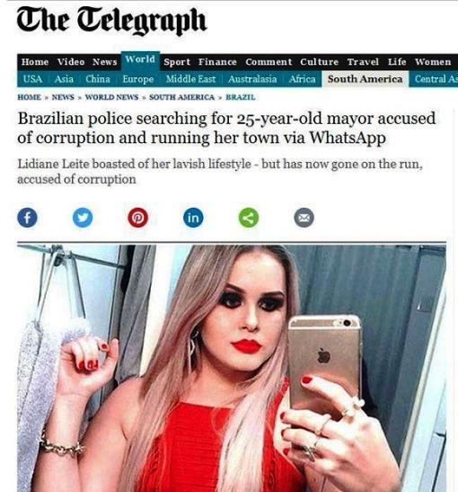 Caso de prefeita foragida ganha destaque na imprensa internacional