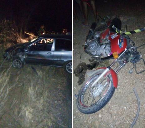 Acidente gravíssimo envolvendo carro e moto deixa duas pessoas mortas próximo a Cruzeta