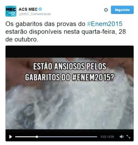 MEC diz que gabarito oficial do Enem 2015 será divulgado na quarta-feira (Foto: Reprodução/Twitter)