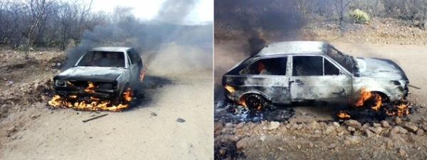 Veículo pegou fogo na zona rural de Parelhas