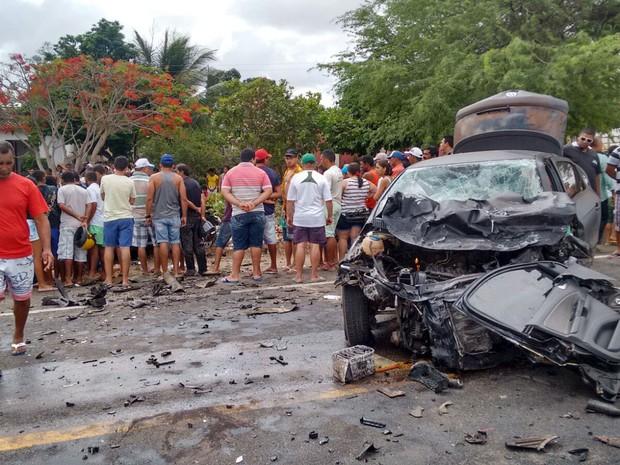 Acidente aconteceu na BR-226 entre Tangará e Serra Caiada (Foto: Francisco Júnior/Inter TV Cabugi).