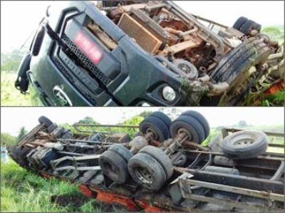 Motorista perde controle e tomba caminhão em rodovia estadual no interior da PB