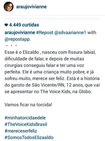 TODOS POR ELIZALDO: Modelo e atriz global Viviane Araújo entra na torcida pelo jovem talento