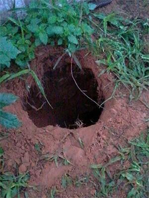 Saída do túnel, já do lado de fora da penitenciária, foi descoberta nesta terça (Foto: Divulgação/PM).