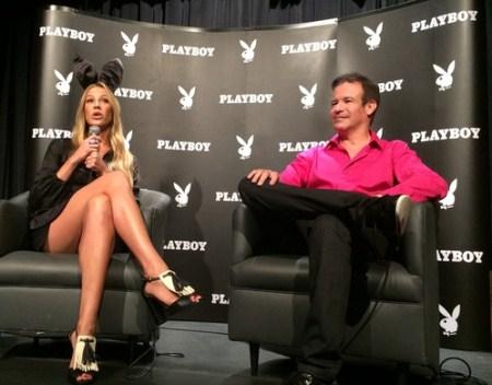 Luana Piovani e André Sanseverino, um dos criadores da nova editora da Playboy no Brasil.