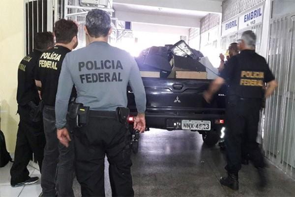 Máquinas caça-níqueis foram apreendidas numa galeria próxima a Assembleia Legislativa, no bairro de Cidade Alta, na zona Leste da capital (Foto: Divulgação/PF)