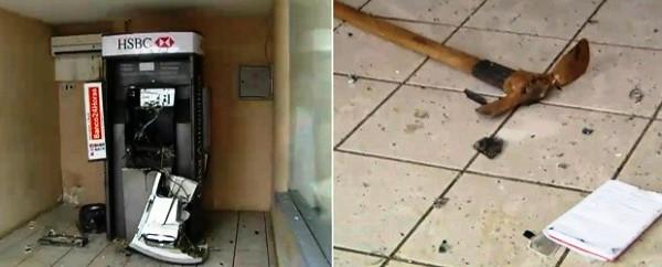 Terminal foi arrombado, mas dinheiro não foi levado. Uma picareta, usada para violar o caixa, ficou jogada no chão (Foto: Reprodução/Facebook)