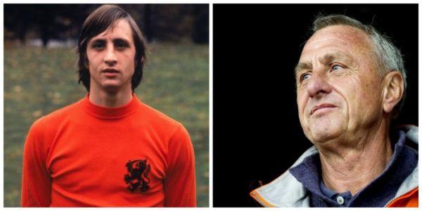 ídolo Johan Cruyff defendendo a camisa da seleção holandesa e na atualidade.