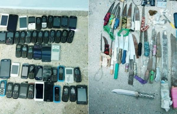Além dos 50 telefones, também foram encontradas mais de 30 facas artesanais e drogas (Foto: G1/RN)