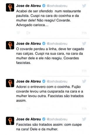 José de Abreu foi flagrado cuspindo num casal num restaurante japonês de São Paulo.