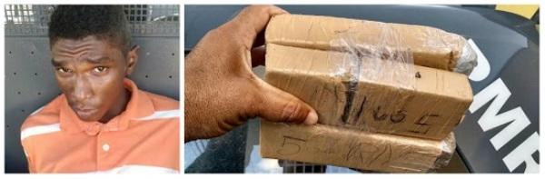 Suspeito de tráfico de drogas é preso em flagrante com 2,5kg de maconha