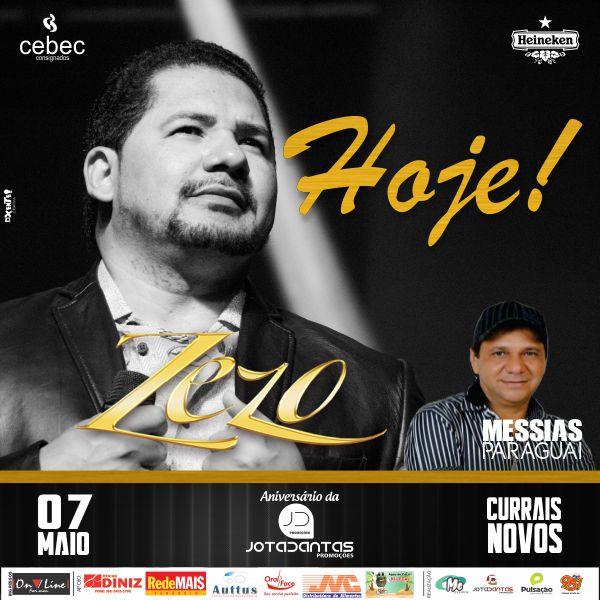 HOJE: Véspera do Dia das Mães, o show mais romântico do Brasil, ZEZO em Currais Novos!