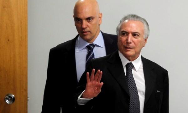 O presidente interino, Michel Temer, e o ministro da Justiça, Alexandre de Moraes | Givaldo Barbosa / Agência O Globo.