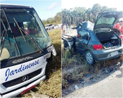 ACIDENTE: Colisão frontal entre ônibus e carro deixa um morto na Reta Tabajara