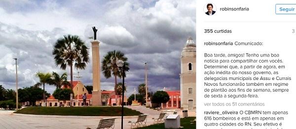 A informação foi publicada nas redes sociais do Governador.