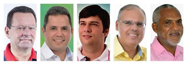Carlson, Eugênio, Odon, Sérgio e Zé Coco. As fotos estão em ordem alfabética. Todos os candidatos conformaram presença.