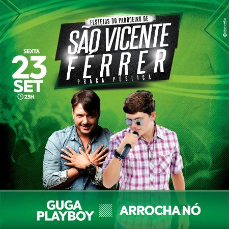 SÃO VICENTE: Hoje tem Guga Playboy e ArrochaNó na segunda noite de Pavilhão