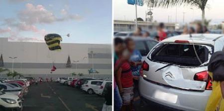 a vítima pegou uma rajada de vento muito forte durante o pouso e acabou batendo no vidro traseiro de um carro que estava estacionado