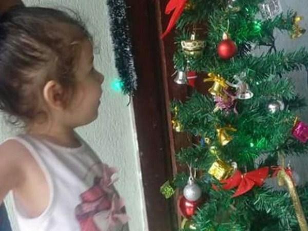 Nicolly se encantou com enfeites de Natal (Foto: Daiana Pereira/Arquivo Pessoal)