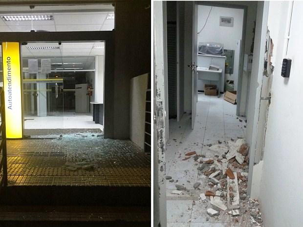 Agência do Banco do Brasil foi alvo dos criminosos na madrugada desta quarta-feira (7) em Caraúbas (Foto: Divulgação/PM)