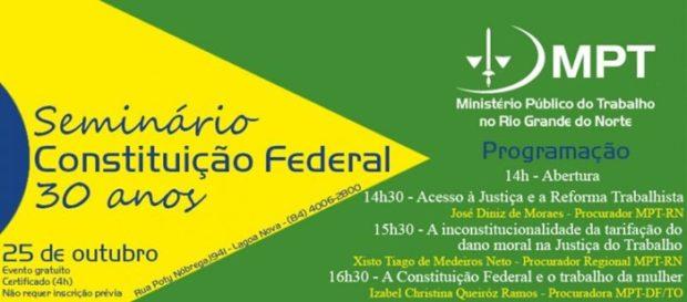 COMEMORAÇÃO: MPT promove seminário para homenagear os 30 anos da Constituição Federal