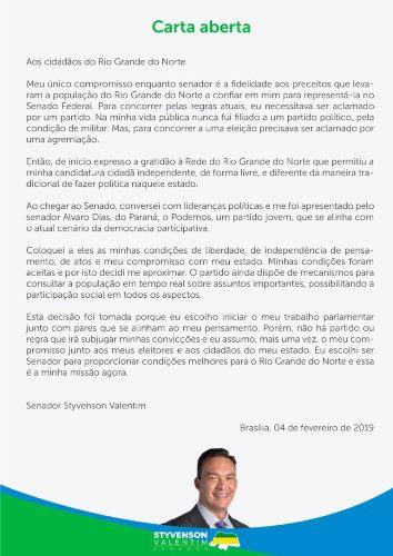 Em carta aberta aos cidadãos do RN, senador Styvenson Valentim anuncia saída do partido Rede para filiação ao Podemos